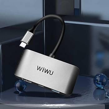 Wiwu C2H 3 in 1 Type-C + HDMI+Usb Hub Çevirici Dönüþtürücü