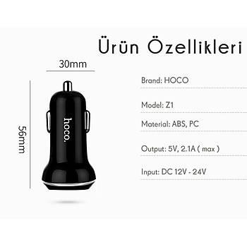Hoco Z1 iPhone Lightning 2.1A 2 USB Araç Þarjý Mavi HCZ-IP-M