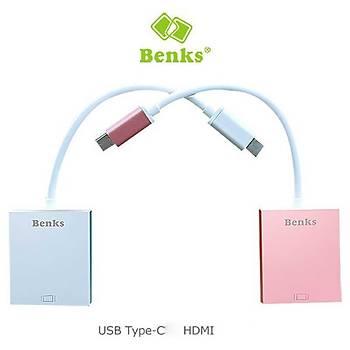 Benks USB3.1-Type C TO HDMI Çevirici Adaptör Hub Rose Gold