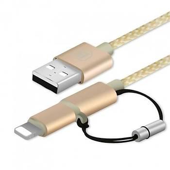 Baseus Antila Mfi Lisanslý 1M Lightning ve Micro Usb Þarj Kablosu