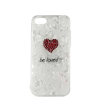 AntDesign iPhone 7 Plus/8 Plus Be Loved Kalp Taþlý Kýlýf Kýrmýzý