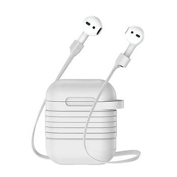 Baseus Apple Airpods Kýlýf ve Kulaklýk Askýsý Gri