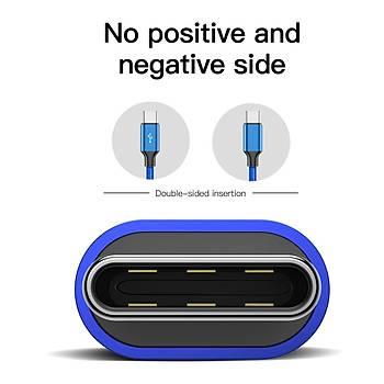 Baseus Artistic striped kablo USB  Type-C 3A 5M Mavi