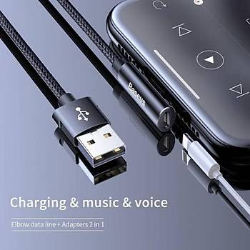 Baseus Ritim Bent Serisi Ses ve Þarj Kablosu USB iP 2A 1.2 m Siyah