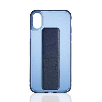 Roar Apple iPhone X / XS 5.8 Aura Standlý Þeffaf Silikon Kýlýf Blue
