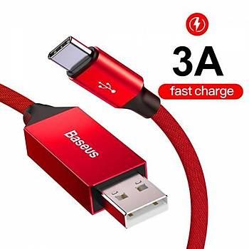 Baseus Artistic striped kablo USB  Type-C 3A 5M Kýrmýzý