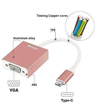 Benks USB3.1-Type C TO VGA Adapter Hub Rose Gold