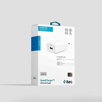 Ttec SpeedCharger Serisi Micro USB Kablolu 2.1A Seyahat Þarj Cihazý Beyaz