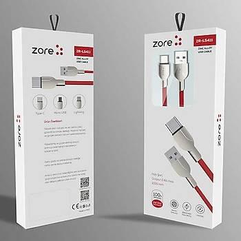 Zore ZR-LS411 Type-C Usb Kablo 1M 2.4A Mavi