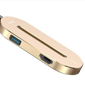 Baseus O HUB Type-C HDMI USB 3.0 Çevirici Çoðaltýcý Aparat Gold