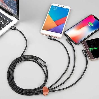 Baseus 3,5A Type-C Micro Usb ve Lightning Mobil Oyun Þarj Kablosu