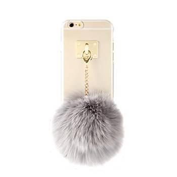 Ddpop Style Fake Fox Grey iPhone 7 / 8 Gri Ponponlu Kýlýf Seffaf