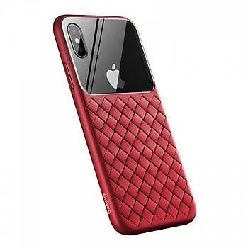 Baseus Glass Weaving iPhone XS MAX Hasýr Desen Cam Tasarým Kýlýf