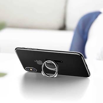 Baseus Bear Metal Telefon Tablet Selfie Yüzüðü Stand Tutucu Siyah