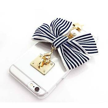 Ddpop Style Stripe Ribbon iPhone 7 / 8 Siyah Kurdelalý Kýlýf