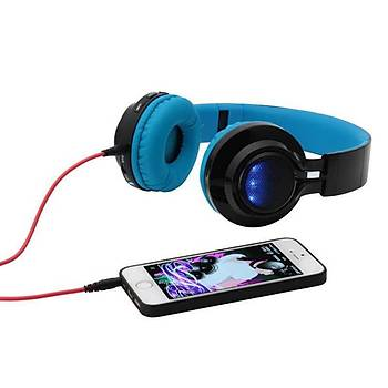 ZORE BT-005 Bluetooth KulakÜstü Kulaklýk Led Iþýklý Mavi