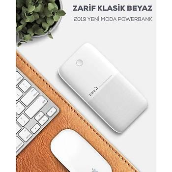 Zore Çift USB Ýnce Tasarým 10000Mah Taþýnabilir Þarj Beyaz