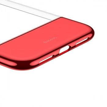 Baseus Half to Half iPhone XS Max Deri Görünümlü Kýlýf Kýrmýzý