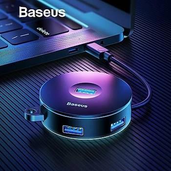 Baseus Round Box HUB Adapter ve Çoklayýcý Siyah (USB3.0 to USB3.01+USB2.03?