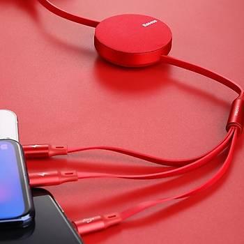 Baseus Fabric 3in1 Makaralý TYPE-C+Micro+Ýphone 3.5A 1.2m Red