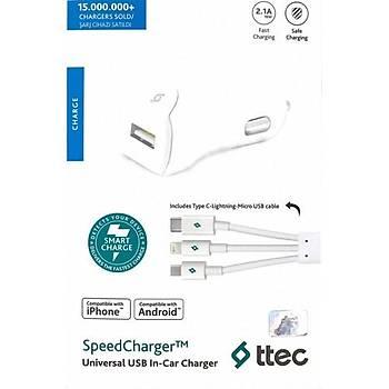 Ttec 2Cks01Ut Ttec Speedcharger Universal 2.1A Trio Kablolu Araç Þarj Aleti