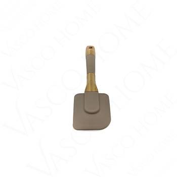 Ahþap-Silikon Düz Spatula Kahverengi