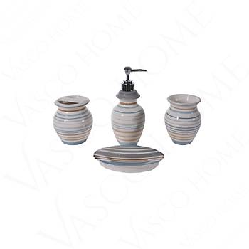 4'Lü Porselen Stonware Renkli Banyo Seti