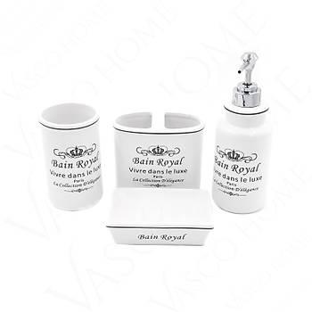 4'Lü Porselen Stoneware  Beyaz Banyo Seti