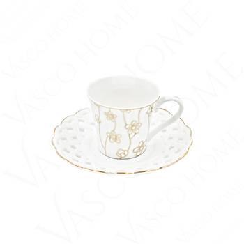 Porselen Yaldızlı Sarmaşık Desenli Kahve Fincan Takımı 6 Kişilik 12 Parça