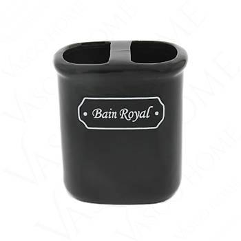 4'Lü Porselen Stoneware Siyah Banyo Seti