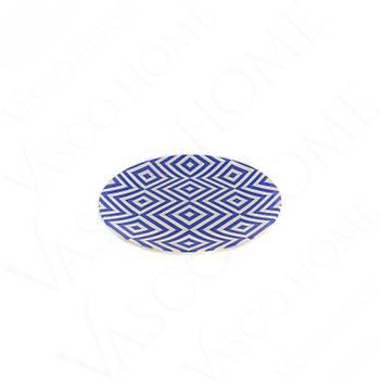 Özel Desenli Servis Tabağı Mavi Düzenli