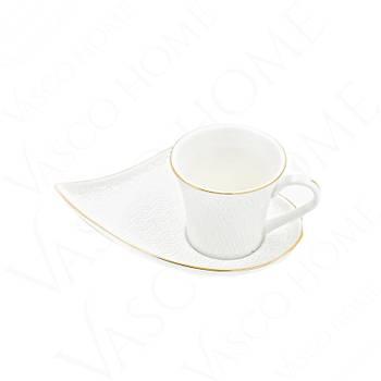 Porselen Yaldýzlý Kalp Kahve Fincan Takýmý 6 Kiþilik 12 Parça