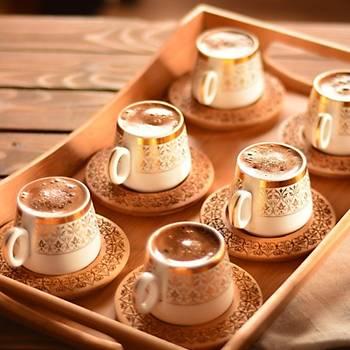 Bambu Ottoman 6 Kiþilik Kahve Fincan Takýmý Yaldýzlý 12 Parça