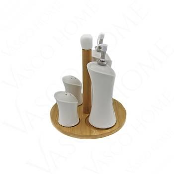 Bambu 4'Lü Porselen Tuzluk-Yağlık