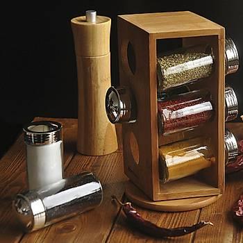 Bambu 6'lı Dönen Baharatlık