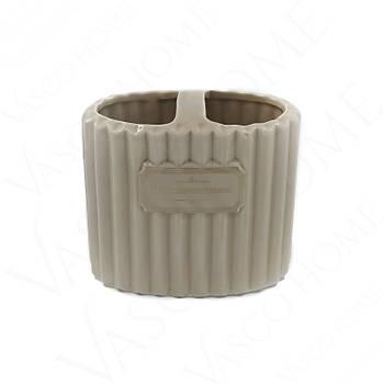 4'Lü Porselen Stonware Kahverengi  Banyo Seti