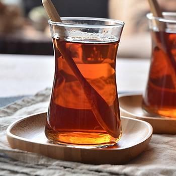 Bambu 6'lı Kare Çay Tabağı