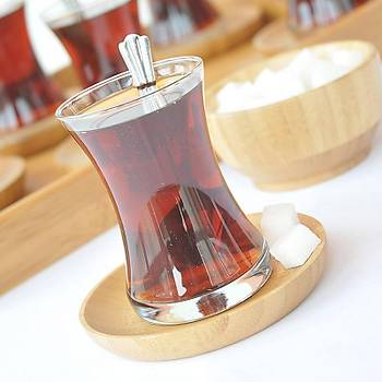 Bambu 6'lý Yuvarlak Çay Tabaðý