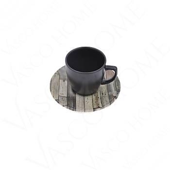 Ahþap Desenli Kahve Fincan Takýmý
