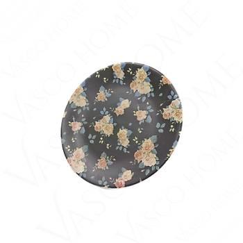 Özel Desenli Servis Tabağı Siyah Çiçekli