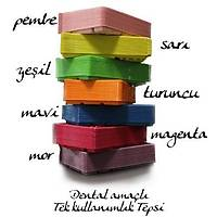 Renkli Plastik Tepsi - El Aletlerini Koymak Ýçin -50 Adet- Tek Kullanýmlýk ( 10 Pkt Alana 1 Pkt Hediye )