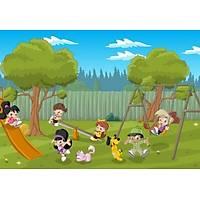 DL 4189 Parkta Eðlenen Çocuklar Duvar Posteri
