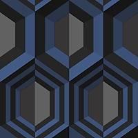 Kinetic J407-01 Lacivert Geometrik Desenli Duvar Kaðýdý