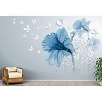 DL 7016 Mavi Lotus Çiçekli Duvar Posteri