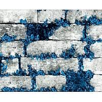 Elemental 42005-4 Mavi Çiçekli Taþ Desen Duvar Kaðýdý