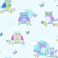 Just 4 Kids G56034 Baykuş Desenli Çocuk Odası Duvar Kağıdı