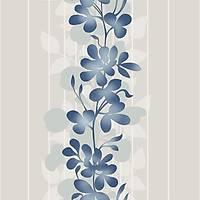 Harmony 126-B Mavi Çiçek Desenli Duvar Kaðýdý