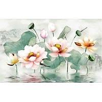 DL 7010 Lotus Çiçekli Non Woven Duvar Posteri