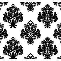 New Selection 307-1 Siyah Beyaz Damask Desen Duvar Kaðýdý