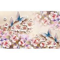 DL 7167 Pembe Çiçek Desenli Duvar Posteri